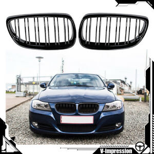 Glossy Black Dual Slat Grille For Bmw E92 2d Coupe E93 Convertible 2007 2010