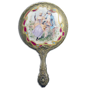 Hand Painted Porcelain Ladies Mirror With Courting Scene German Silver