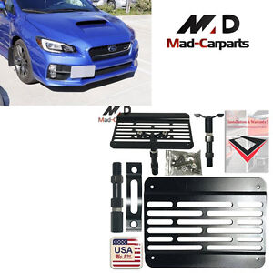 Bumper Tow Hook License Plate Mount Relocation Kit For Subura Wrx Sti Scion Fr s