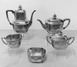 Hampton Engraved By Tiffany Co Sterling Silver 5 Piece Tea Coffee Service