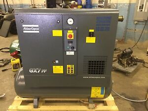 Used Atlas Copco Gx7ff 2014 Model 10 Hp Rotary Screw Air Compressor And Dryer