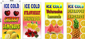 4 Pack 15 X 30 Vinyl Banners Strawberry Watermelon Pineapple Cherry Lemonade