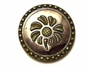 Antique Unusual Metal Flower Picture Button Old Vintage Sewing Button Avb236