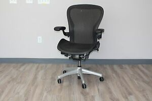 Herman Miller Aeron Chair In Size c In Carbon Pellicle Classic On Titanium