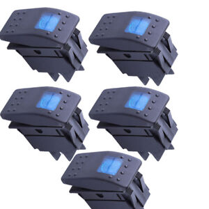 Lot5 Waterproof Marine Boat Car Rocker Switch 12v On off 4 Pin Blue Led Light Us