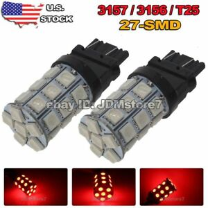 2x 3157 27smd Pure Red Car Led Rear Tail Brake Stop Light Bulbs 3057 3457 4157
