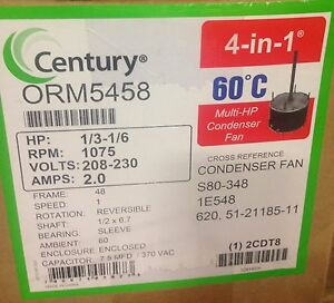 A o Smith Century Orm5458 Condenser Fan Motor 1 3 1 6 Hp 1075 Rpm 208 230 Volt