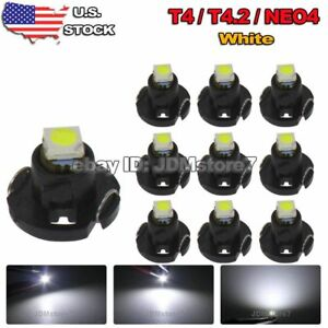 10x White T4 T4 2 Neo Wedge Led Cluster Instrument Dash Climate Base Bulbs Light