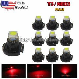 10x Red T3 Neo Wedge Led Bulb Cluster Instrument Dash Climate Base Light Lamps