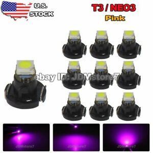 10x Purple Pink T3 Neo Wedge 1 Smd 3528 Led Bulbs Cluster Instrument Dash Light