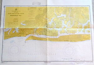 Vintage Nautical Chart Map Hempstead Bay South Coast Of Long Island New York