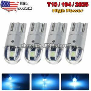 4x Projector Lens T10 Ice Blue Led 3030 Wedge Light Bulb W5w 194 168 2825 192