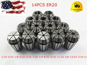 New 14pcs Er20 Spring Collet Set For Cnc Milling Lathe Tool Engraving Machine Us