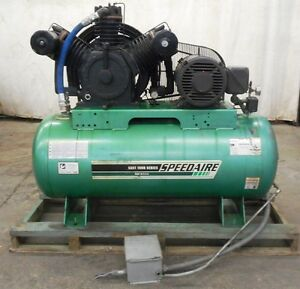 Speedaire Electrical Horizontal Tank Air Compressor 3 Phase 120 Gallons