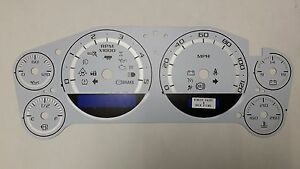 07 14 Custom Duramax Diesel White Cluster Gauge Face Inlay Only With Silver Band
