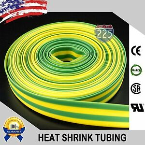 100 Ft 100 Feet Green Yellow 1 25mm Polyolefin 2 1 Heat Shrink Tubing Rohs Ul