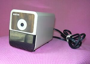 Hunt Boston Electric Pencil Sharpener 296a Model 18 Beige Wood Grain Usa