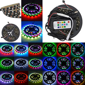 5m 5050 Ws2812b Rgb 5v 150led Strip Light Waterproof Black Pcb Remote 8a Power