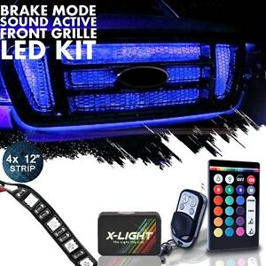 4pc Flexible Neon Led 18 Color Front Grille Light Kit Wireless Remote Brake Mode