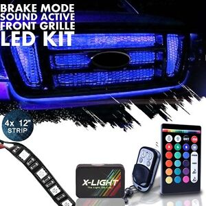 4pc Flexible Neon Led 18 Color Front Grille Light Kit Wireless Remote Music Mode