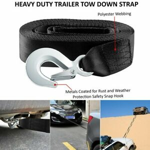 2 Black 10000 Lb 2x20 Ft Auto Suv Truck Tow Strap Winch Rope Off Road Recovery
