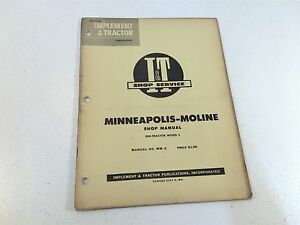 Vintage 1955 Implement Tractor Shop Manual Minneapolis Moline Series Gb ub zb
