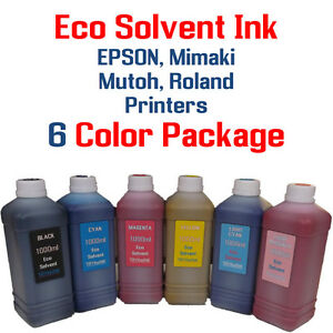 Eco Solvent Ink 6 Multi color 1000ml Each Epson Roland Mimaki