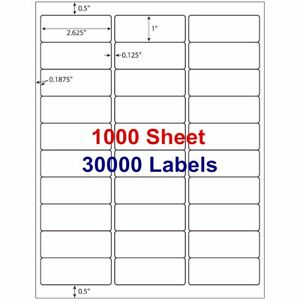 1 X 2 5 8 30000 Address Laser Ink Jet Shipping Labels 2 625 X 1 30up 1000 Sheets