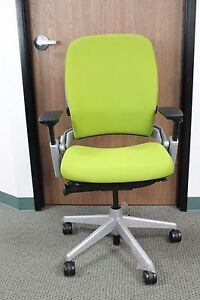 Steelcase Leap In Cogent Connect Wasabi On A Platinum Base