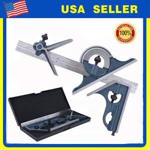 Blem Cosmetic Second Pec 12 4r 4 Pc Combination Machinist Square Protractor New
