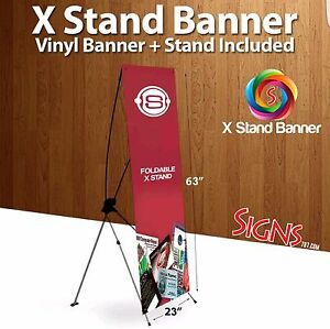 X Stand Banner 24 X 63 W Travel Bag Plus Full Color Custom Vinyl Banner