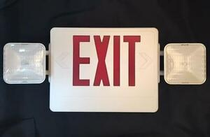 New Elite Lighting Led Exit Sign Emergency Light Combo W battery Backup 21 x10