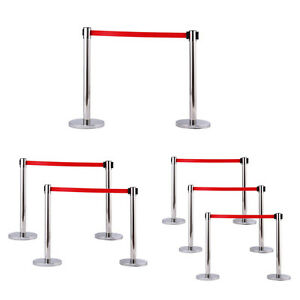 Silver Stanchion Set Posts Queue Pole Retractable Red Belt Crowd Control Barrier