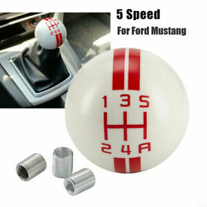 For Ford Mustang Shelby Gt500 5 Speed Red White Manual Gear Shift Knob Shifter