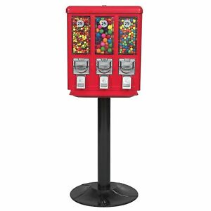 Triple vending Gumball Machine With Heavy Duty Cast Iron Stand Accepts Quarters