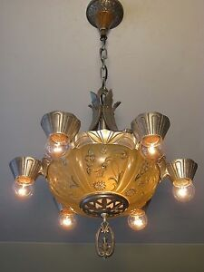 Gorgeous Antique Lincoln Polished Aluminium Slip Shade Light Fixture Restored