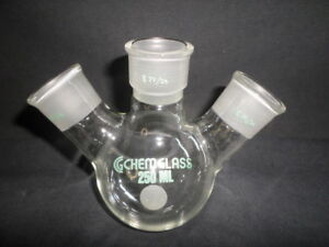 Chemglass 29 26 Joints 250ml Angled 3 neck Round Bottom Flask