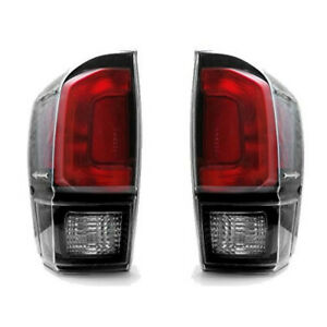 Fits 2016 2017 2018 19 Toyota Tacoma Tail Lights Clear Lens Black Trd Pro Style