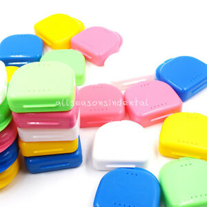 100 Pcs Dental Retainer Denture Storage Orthodontic Mouthguard Colorful Case Box