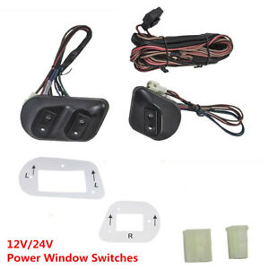 12v 24v Universal Car Pickup Power Window Switches With Holder Wire Harness