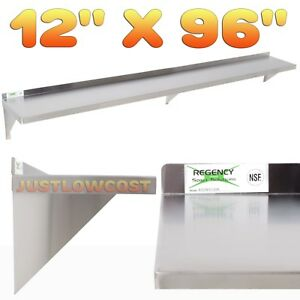 12 X 96 Stainless Steel Drainboard Solid Wall Shelf Wall Mount Storage Rack