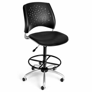 Ofm Stars Faux Leather Swivel Drafting Stool In Black