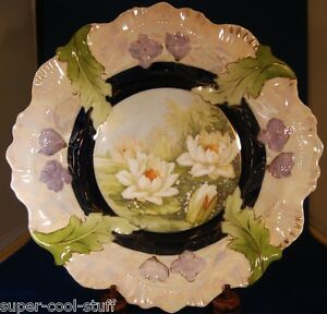 German Antique Porcelain Heavily Painted Bowl Water Lilly Gilt P S Mark 26b