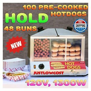 100 Hot Dogs Steamer 48 Buns Commercial Concession Warmer Stand Stand Vending