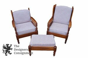 Vintage 1971 Sampler Home Country Spindle Back Chairs Ottoman Cherry Gingham