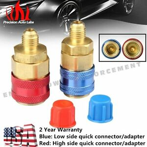 2 Pack A C R134a Automotive Air Conditioning Quick Coupler Low High Side Adapter