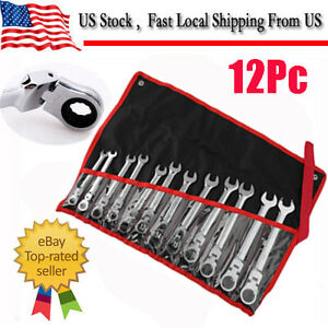 12pc 8 19mm Metric Flexible Head Ratcheting Wrench Combination Spanner Tool Set
