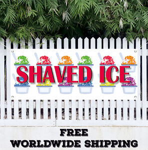 Shaved Ice Advertising Vinyl Banner Flag Sign Snow Cones Concessions Stand