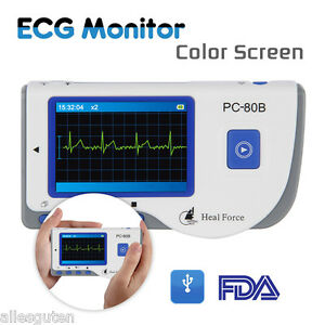 Pc 80b Heal Force Color Handheld Portable Ecg Ekg Heart Monitor ecg Leadcables