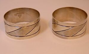 Pair Of Mid Century N Giles Sterling Rancho Alegre Taxco Mexico Napkin Rings